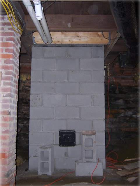 fireplace foundation in basement