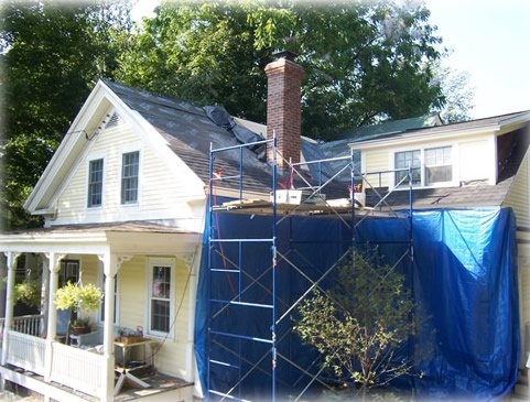 exterior protection during fireplace installation